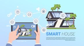 Smart Home Administration And Control Technology Concept With Hands Holding Tablet Device. Flat Vector Illustration Royalty Free Stock Photo