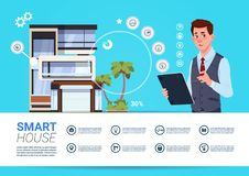 Smart Home Administration And Control Technology Concept With Man Holding Tablet Device. Flat Vector Illustration Royalty Free Stock Photo