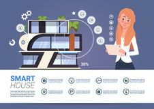 Smart Home Administration And Control Technology Concept With Woman Holding Tablet Device. Flat Vector Illustration Royalty Free Stock Photo