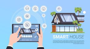 Smart Home Administration And Control Technology System Concept With Hands Holding Digital Tablet. Flat Vector Illustration Stock Photography