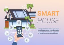 Smart Home Administration System Of Control With Hands Holding Smartphone. Flat Vector Illustration Royalty Free Stock Images