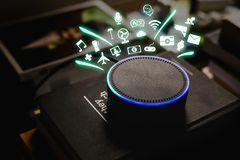 Smart Home assistant device, Virtual assistant , Artificial intelligence, Home control internet of things. Concept royalty free stock photos