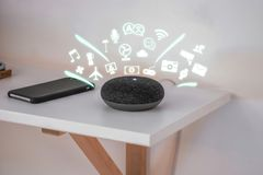Smart Home assistant device, Virtual assistant , Artificial intelligence, IOT internet of things concept. Smart Home assistant device, Virtual assistant stock photo