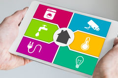 Smart Home Automation And Mobile Computing Concept. Stock Photos