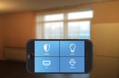 Smart home automation app on smartphone royalty free stock image