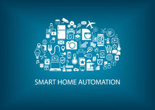 Smart home automation with cloud computing technology. Icons and symbols of home devices arranged as a cloud. Vector background with blue color Stock Images