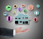 Smart home automation concept levitating above a hand stock images