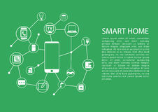 Smart home automation concept with mobile phone connected to network of devices. Vector template with text Royalty Free Stock Photography