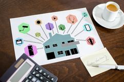Smart home automation concept on a paper. Placed on a desk stock photos