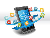 Smart Home Automation Control Apps on Smartphone Stock Photos