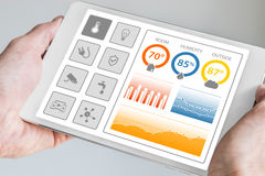 Smart home automation dashboard to control smart devices and sensors in the house or apartment. Royalty Free Stock Photo