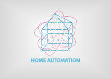 Smart home automation 3 dimensional  illustration. Shows connectivity between different devices at home Stock Images