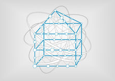 Smart home automation simple  illustration. Blue outline of house with connections between rooms and devices Royalty Free Stock Photo