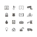 Smart home automation technology icons set royalty free illustration