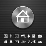 Smart home automation technology metal button Stock Images