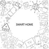 Smart home background from line icon. Linear vector pattern stock illustration
