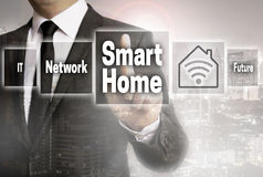 Smart Home businessman with city background concept stock image