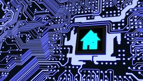 Smart home circuit board future house concept. Blue circuit board with a house symbol on the cpu smart home concept 3D illustration Royalty Free Stock Photo