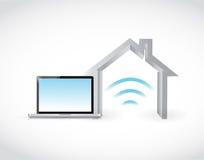 Smart home computer concept illustration. Design graphic over white Stock Photos