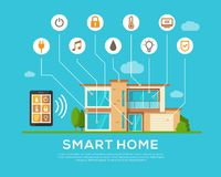 Smart Home concept. Automation concept. Smart systems and technology. Mobile apps. Flat style. Vector illustration Royalty Free Stock Photo