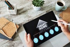 Smart home concept, control panel software on device screen. royalty free stock photos