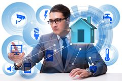 The smart home concept with devices and appliances. Smart home concept with devices and appliances stock photo