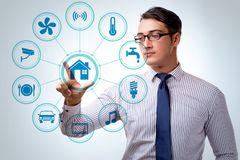Smart home concept with devices and appliances stock photo