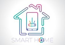 Smart home concept flat vector logo vector illustration