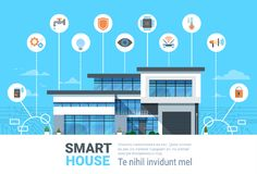 Smart Home Concept Infographics Modern House Technology System   Stock Photos