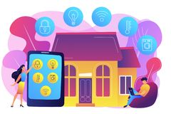 Smart home concept vector illustration. Business people controlling smart house devices with tablet and laptop. Smart home devices, home automation system royalty free illustration