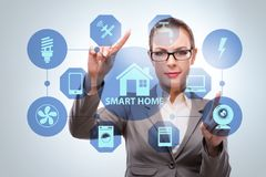 The smart home concept with woman stock photo