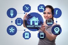 The smart home concept with woman stock images