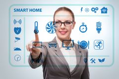 Smart home concept with woman royalty free stock images