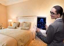 Smart home concept with woman royalty free stock image