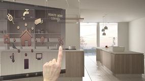 Smart home control concept, hand controlling digital interface from mobile app. Blurred background showing modern white and wooden. Modern kitchen, architecture vector illustration