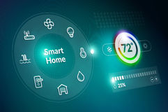 Smart Home Control Dashboard. Smart home control panel concept with temperature fahrenheit degree setting Royalty Free Stock Images
