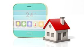 Smart home control device display and house icon vector illustration