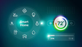 Smart Home Control Panel. Concept with temperature fahrenheit degree setting Stock Photo