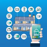 Smart Home Control System Hand Hold Smartphone Automation  Stock Images