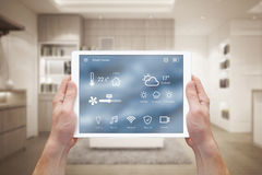 Smart home control on tablet Stock Image