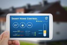 Smart home control technology. Remote automation system on mobil Royalty Free Stock Photography