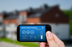 Smart home control technology. Remote automation system on mobil. Intelligence home control technology. Remote automation system on mobile device. Eco and royalty free stock photography