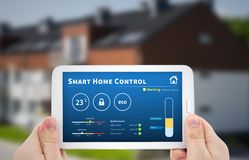 Smart home control technology. Remote automation system on mobil. Intelligence home control technology. Remote automation system on mobile device. Eco and stock photo
