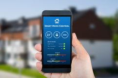 Smart home control technology. Remote automation system on mobil. Intelligence home control technology. Remote automation system on mobile device. Eco and royalty free stock photos
