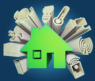 Smart home. 3d render illustration of icons symbolizing the smart home Royalty Free Stock Photos