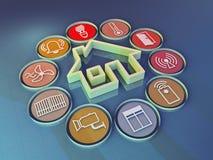 Smart home. 3d render illustration of icons symbolizing the smart home Stock Images