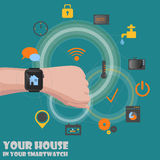 Smart home detectors controlling via smartwatch Stock Photography