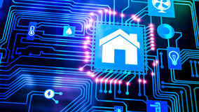 Smart Home Device - Home Control. Smart home: Smarthome house automation icon on motherboard, future technology home remote control concept Stock Photos