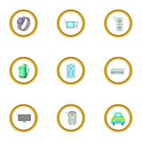 Smart home device icons set, cartoon style Stock Images