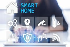Smart home digital interface on virtual screen. Internet and automation technology concept. stock image
